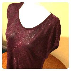 EUC beautiful burgundy shimmer sheet tunic!